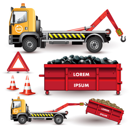 Industrial workers: Garbage transportation and debris on a removable container. Vector illustration