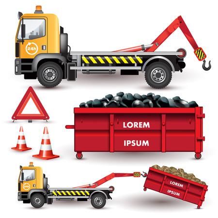 debris: Garbage transportation and debris on a removable container. Vector illustration