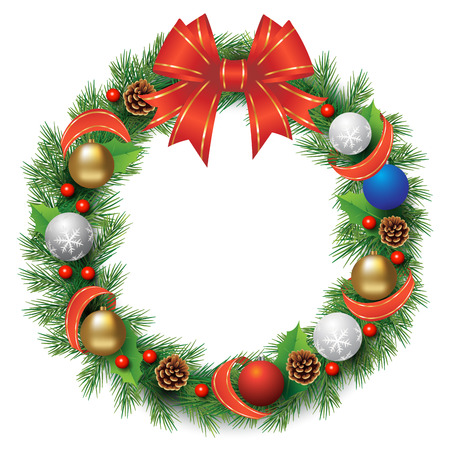Christmas wreath with red ribbon, balls and cones isolated on white. Vector illustration Çizim