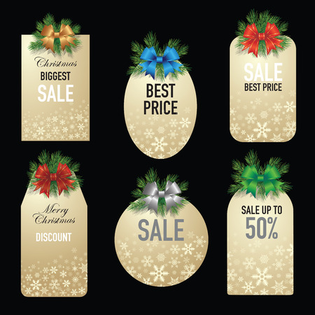 Set of Christmas price tags isolated on background. Vector illustration