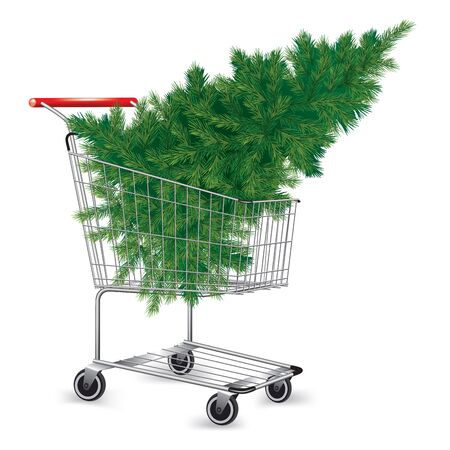 Shopping cart with Christmas tree isolated on white. Vector illustration Çizim