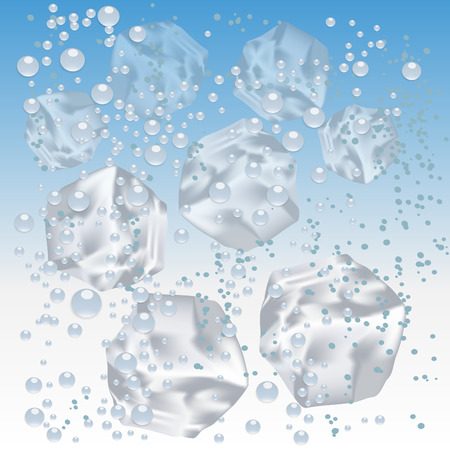 Ice cubes in water isolated on background. Vector illustration Çizim