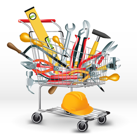 construction tools: Hand tools inside a shopping cart. Vector illustration