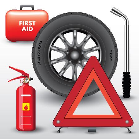 Equipo de vehículos. Triángulo de advertencia, extintor y botiquín de primeros auxilios. Ilustración vectorial