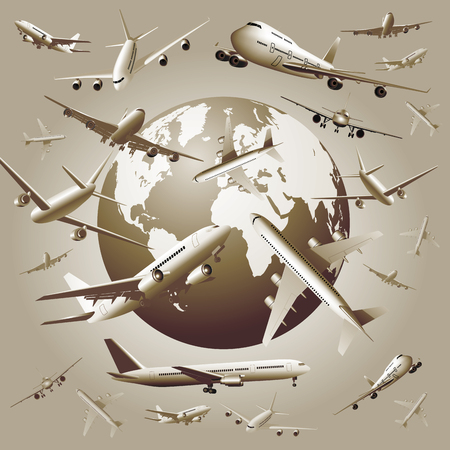 Airplanes flying around the world. Vector illustration