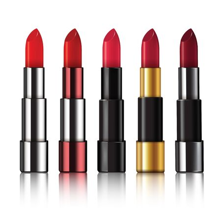 Several different lipsticks isolated on white background. Vector illustration Çizim