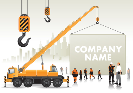 Mobile crane on construction site lifts signboard. Vector illustration