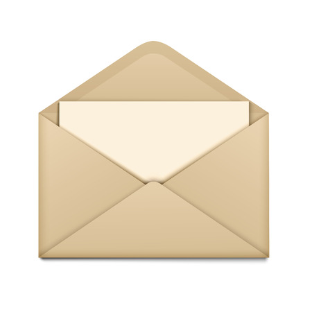 Open brown envelope with paper isolated on background. Vector illustration Çizim