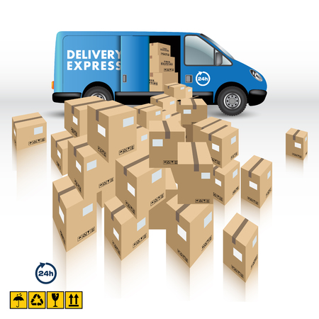 Delivery Van with a Boxes on white background. Vector illustration Çizim