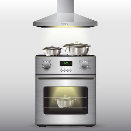 Cuisinière électrique avec four isolé sur fond. Vector illustration Banque d'images - 46534512