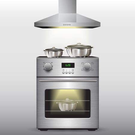 stove: Electric stove with oven isolated on background. Vector illustration