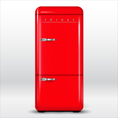 Red retro refrigerator isolated on background. Vector illustration