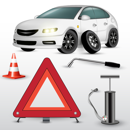 changing: Changing the car wheel. Warning triangle and hand pump. Vector illustration