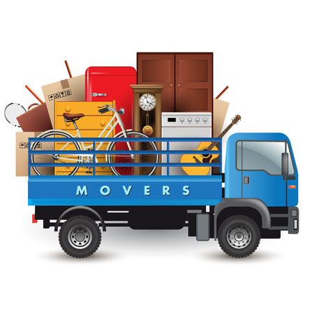 Moving services. Truck car with stuff on the top. Vector illustration