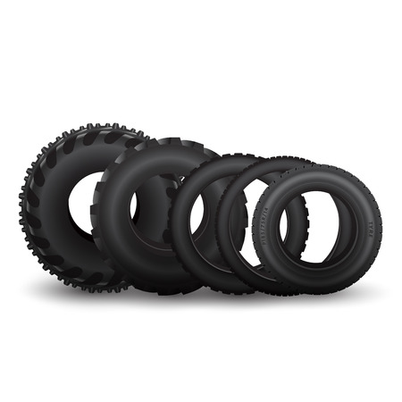 Different vehicle tires isolated on white. Vector illustration Çizim