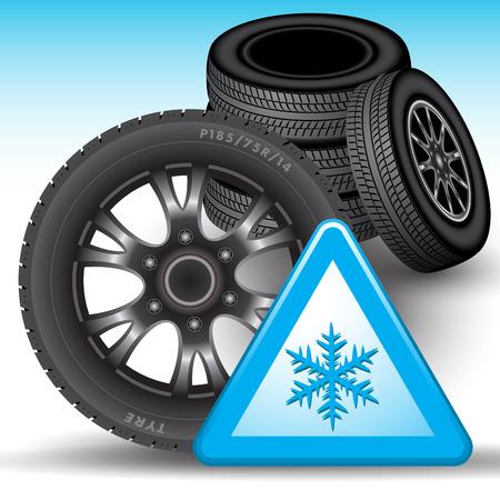 llantas: Los neumáticos de invierno y señal de advertencia de la nieve aislada en el fondo. Ilustración vectorial