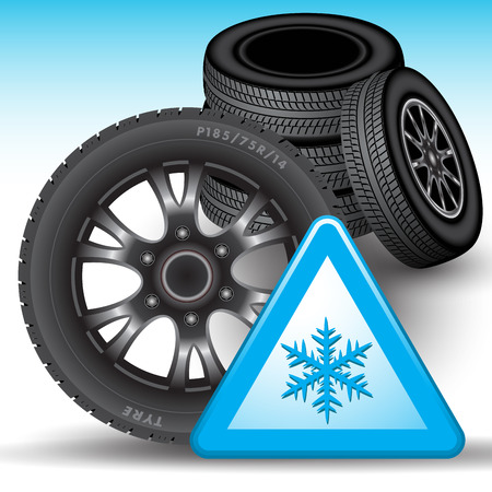 tyre: Winter tires and snow warning sign isolated on background. Vector illustration