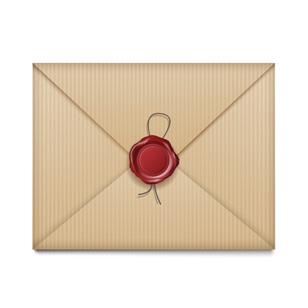 Envelope or letter with wax seal isolated on white. Vector illustration