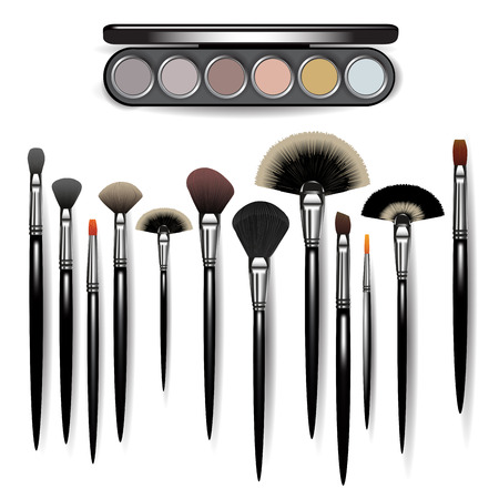 Set of makeup brushes and eye shadow set isolated on white. Vector illustration