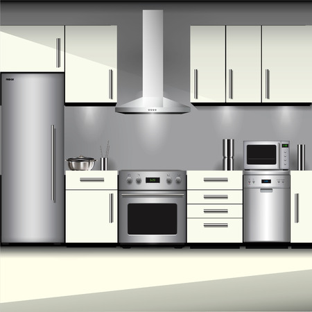 Kitchen interior with appliances isolated on background. Vector illustration