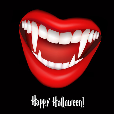 sexy devil: Vampire smile with fangs. Halloween vector illustration