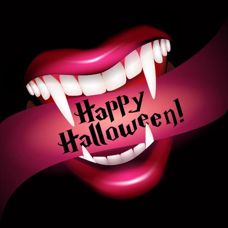 吸血鬼牙笑顔します。ハロウィーンのベクトル図