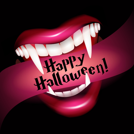 girl mouth open: Vampire smile with fangs. Halloween vector illustration
