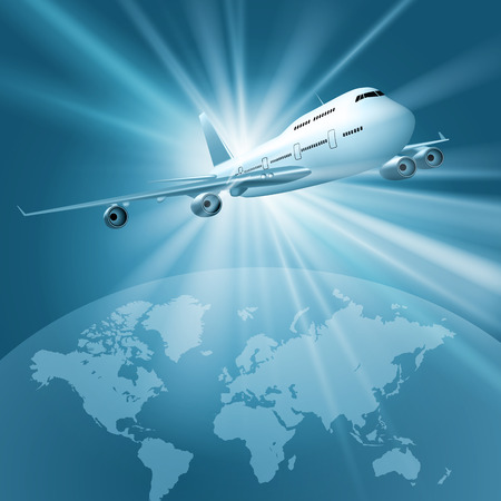 plane landing: Large passenger plane flying over world map. Vector illustration