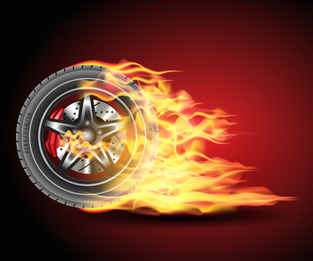 Racing hot wheels. Burning wheel tire isolated on black background. Vector illustration Stock Illustratie