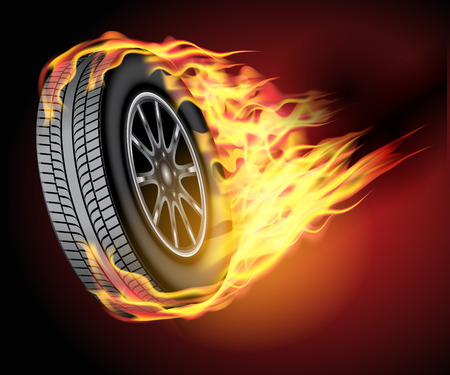 hot wheels: Racing hot wheels. Burning wheel tire isolated on black background. Vector illustration Illustration