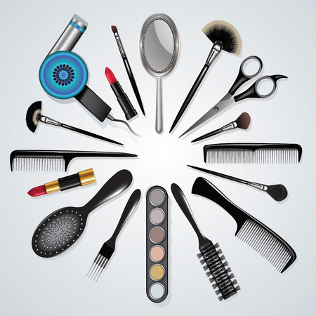 Hairdressing and makeup equipment isolated on white. Vector illustration Çizim