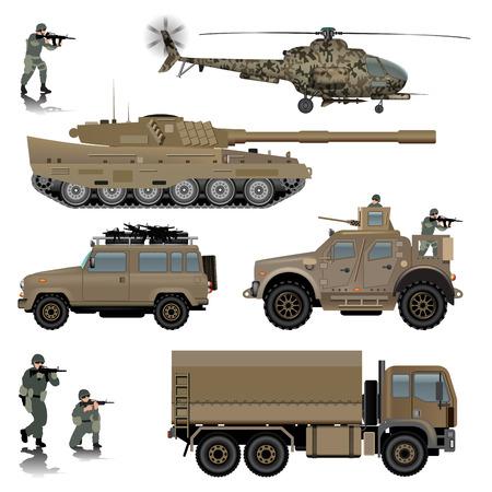 Conjunto de vehículos militares. Tanque, helicópteros, vehículos terrestres y soldados. Ilustración vectorial