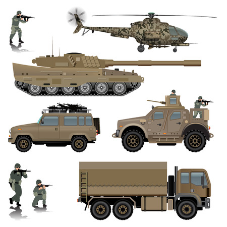 Set of military vehicles. Tank, helicopter, land vehicles and soldiers. Vector illustration