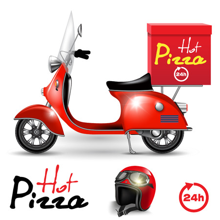 Delivery scooter for pizza isolated on white. Vector illustration
