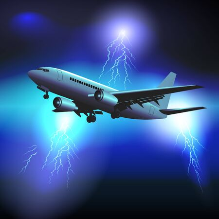 Passenger plane flies through a storm with lots of lightning. Vector illustration
