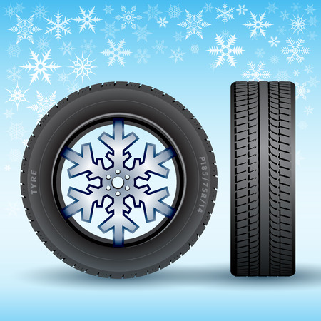 snow track: Abstract Seasonal winter tire isolated on background. Vector illustration Illustration