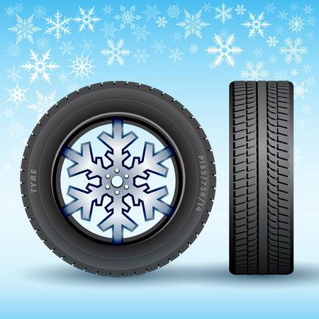llantas: Neumático de invierno estacional abstracta aislada en el fondo. Ilustración vectorial Vectores
