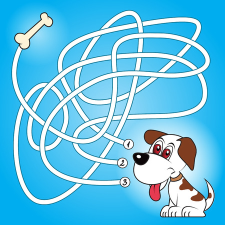 Education maze or labyrinth game for preschool children with dog and bone. Vector illustration Çizim