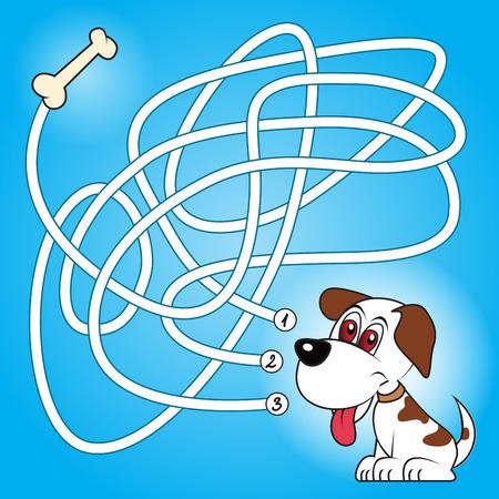 jeu: labyrinthe éducation ou jeu de labyrinthe pour les enfants d'âge préscolaire avec un chien et d'os. Vector illustration