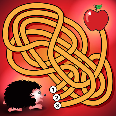Education maze or labyrinth game for preschool children with hedgehog and apple. Vector illustration Çizim