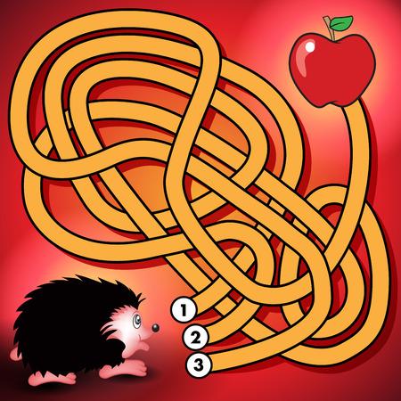Education maze or labyrinth game for preschool children with hedgehog and apple. Vector illustration Illustration