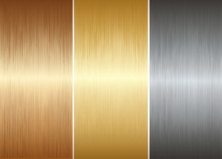 copper: Three diffrent realistic metal plates. Vector illustration