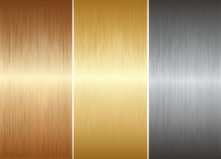 textura: Tres placas de metal realistas diffrent. Ilustración vectorial