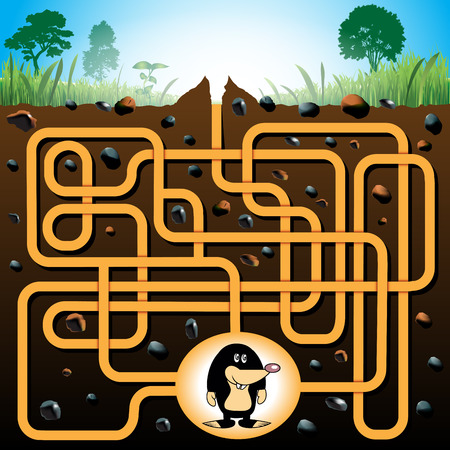 Education maze or labyrinth game for preschool children with funny mole. Vector illustration