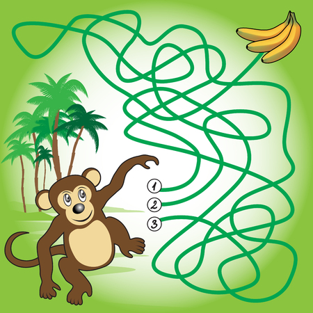 Education maze or labyrinth game for preschool children with monkey and bananas. Vector illustration