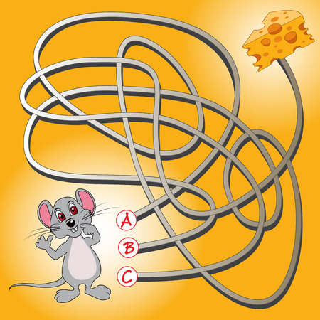 Education maze or labyrinth game for preschool children with mouse and cheese. Vector illustration