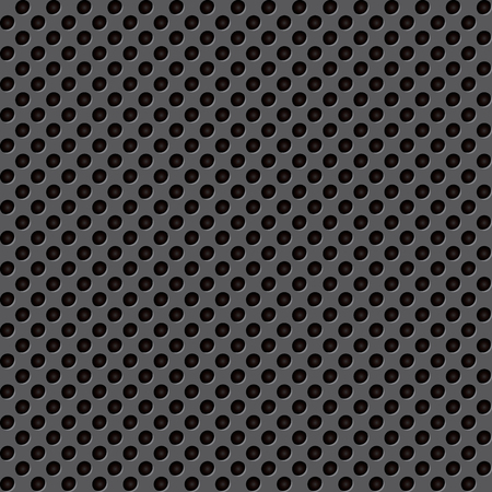 Seamless circle perforated black metal surface. Vector illustration Çizim