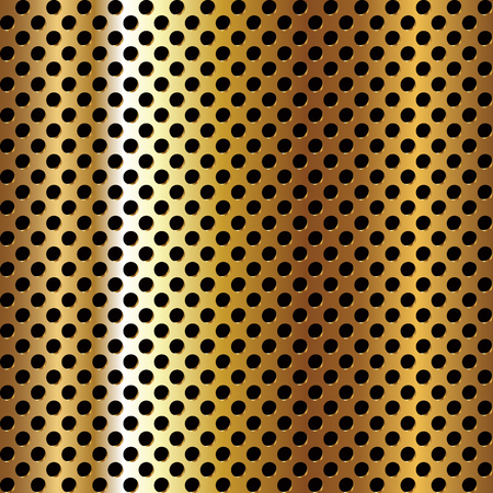 Seamless circle perforated golden metal surface. Vector illustration