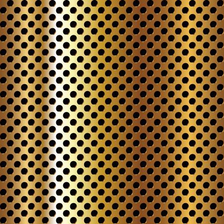 blatt: Seamless circle perforiert Goldene Metalloberfläche. Vektor-Illustration