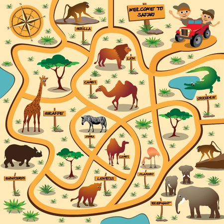 ready: Maze game for children with african animals. Vector illustration